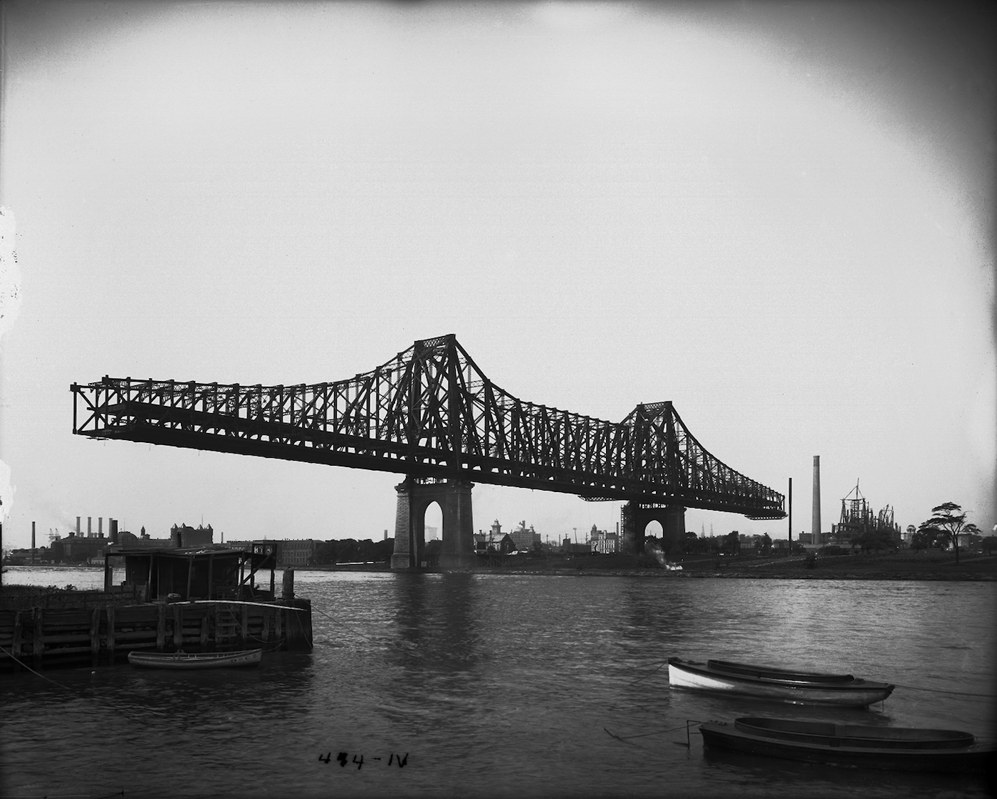 """Eugene de Salignac, """"Blackwell's Island Bridge from Ravenswood Shore"""" (1907), print from digital scan of original photograph (courtesy of the New York City Department of Records)"""