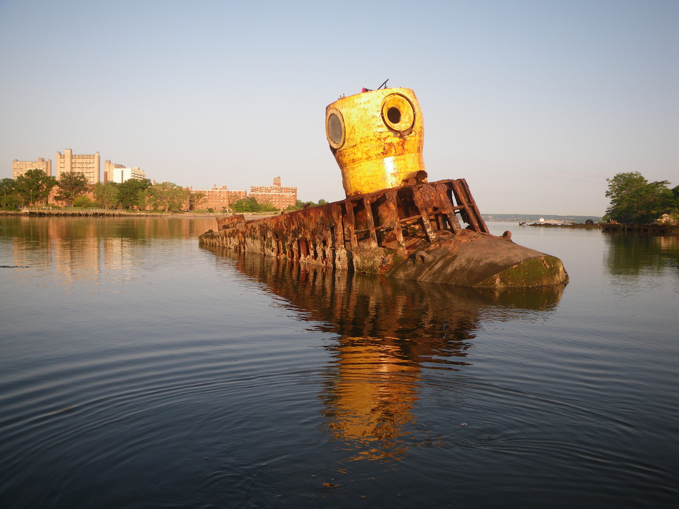 """Marie Lorenz, """"Yellow Submarine, Coney Island Creek from The Tide and Current Taxi"""" (2005 – present), digital photograph (courtesy of the artist)"""