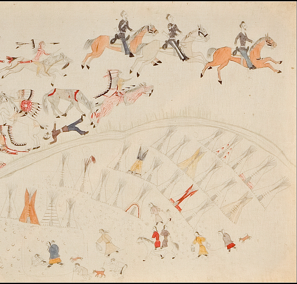 """Stephen Standing Bear, """"Battle of the Little Bighorn"""" (detail) (1920s), pencil and ink on muslin (courtesy Philbrook Museum of Art)"""