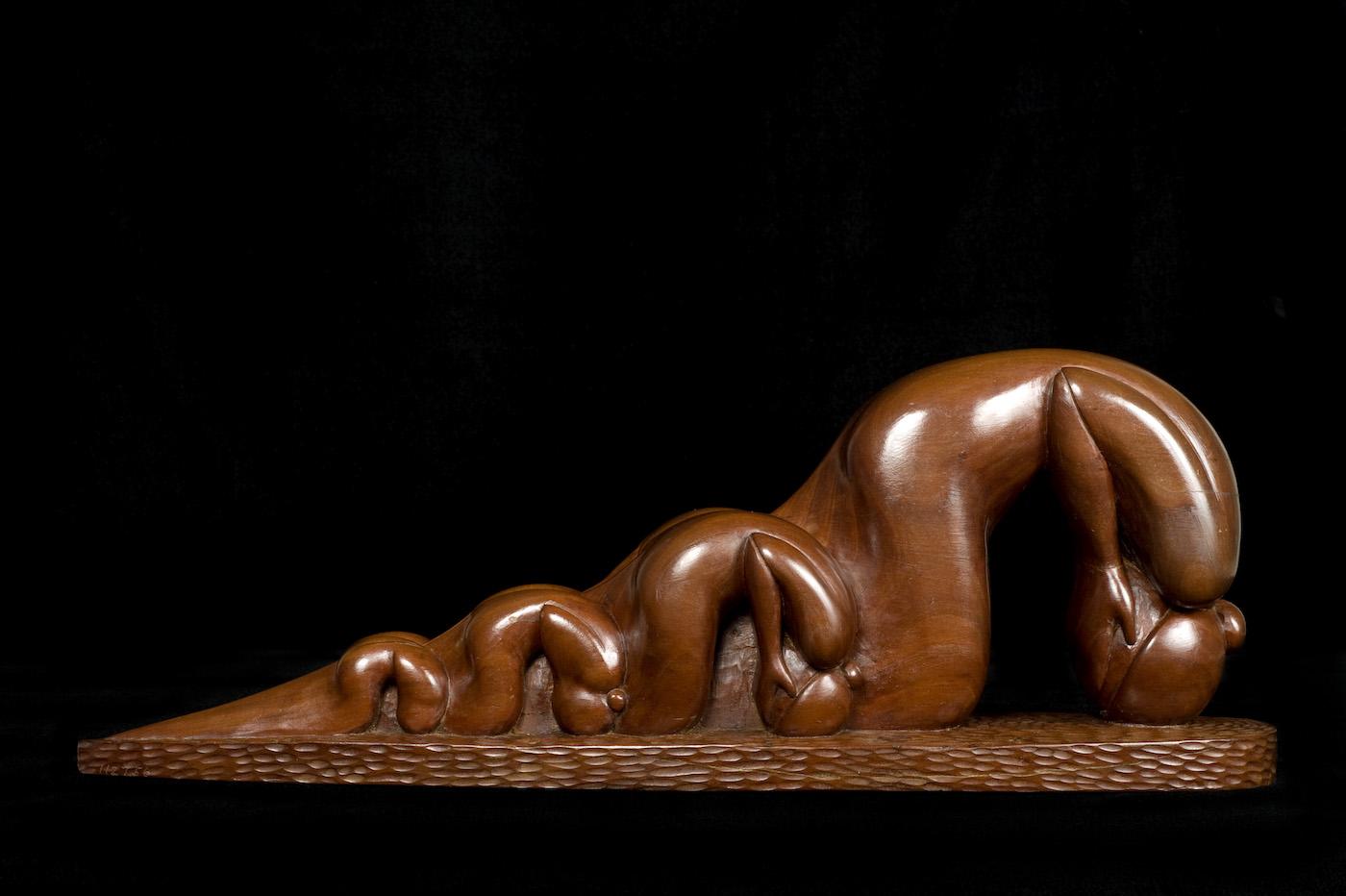 """Willard Stone, """"War Widows"""" (nd), wild cherry wood, 7 1/2 x 20 1/2 x 4 1/2 inches"""