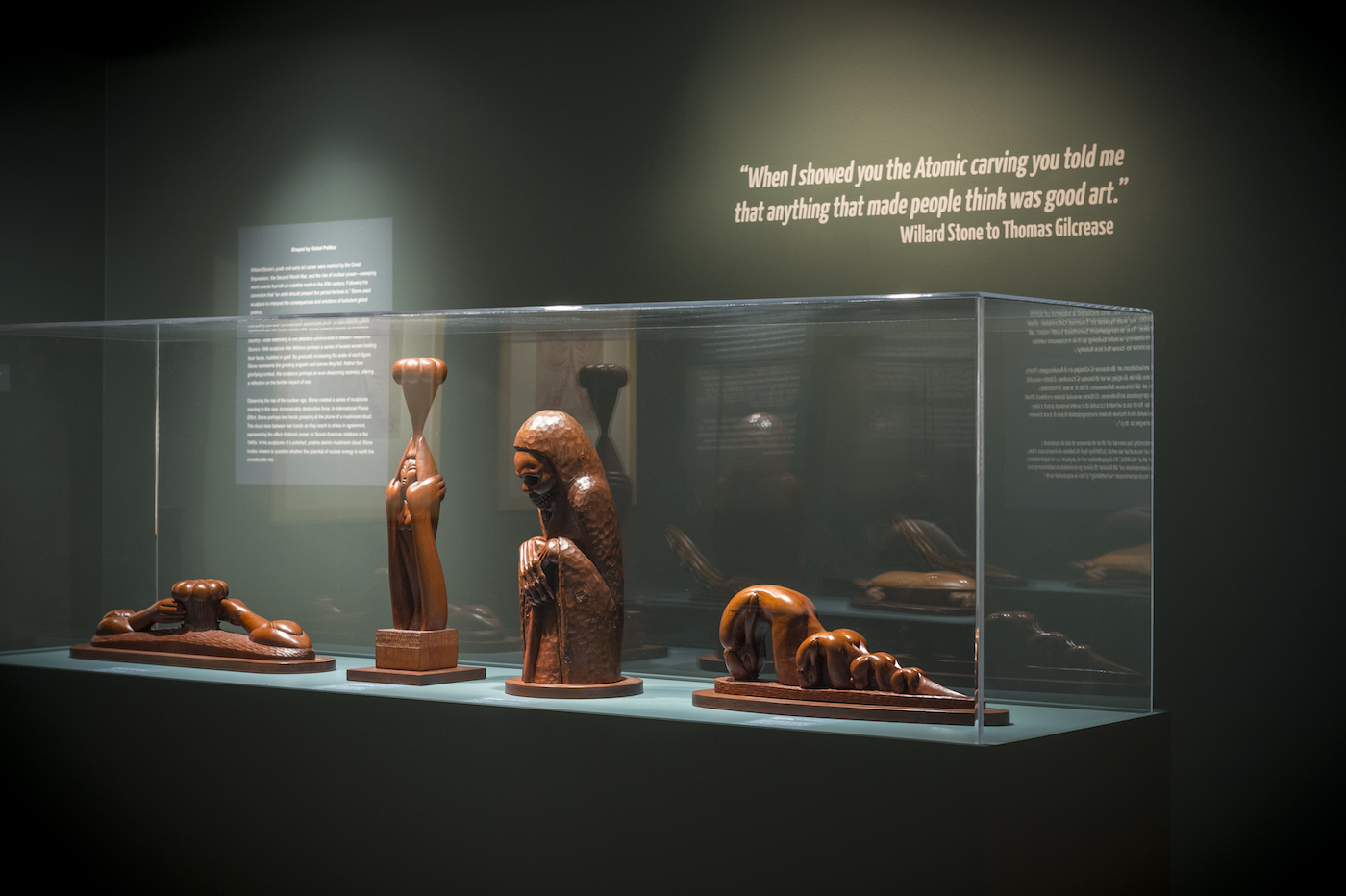 Installation view of 'Following the Grain: A Centennial Celebration of Willard Stone' (photo by Erik Campos, courtesy Gilcrease Museum)