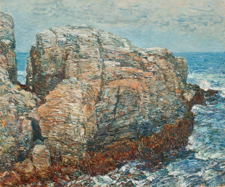 """Childe Hassam, """"Slyph's Rock, Appledore"""" (1907), oil on canvas. Worcester Art Museum, Worcester, Mass, gift of Charlotte E.W. Buffington in memory of her husband (photo by Frank E. Graham, © Worcester Art Museum)"""