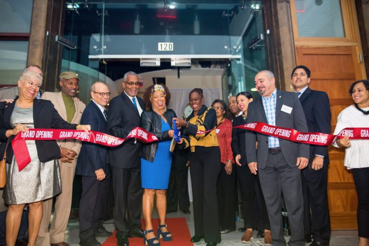 The ribbon cutting ceremony at the opening of CCCADI's new home on 125th Street (photograph by Rex Desrosiers, courtesy of CCCADI)