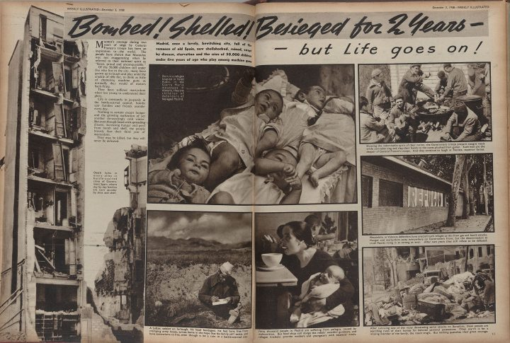 """The Weekly Illustrated, December 3, 1938""""Bombed! Shelled! Besieged for two years –but Life goes on!""""(photographs by Kati Horna)Private Collection, New York"""