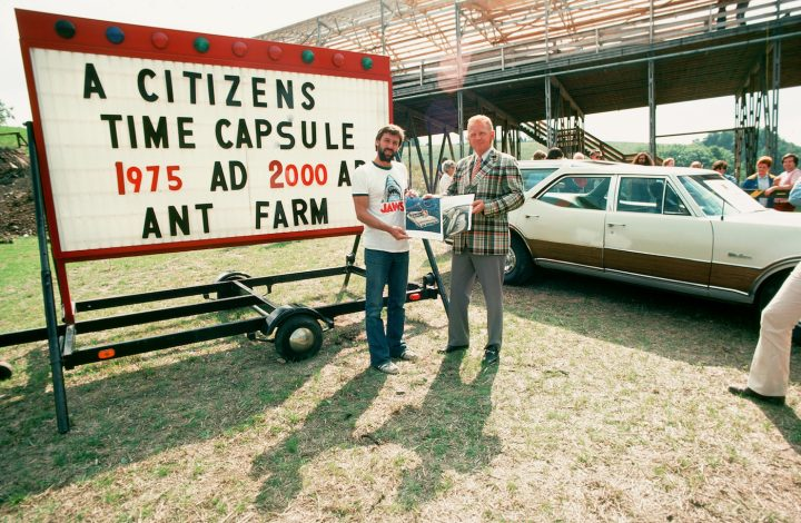"""Ant Farm, """"Citizens Time Capsule"""" (1975) at Lewiston, New York (photo courtesy Chip Lord)"""