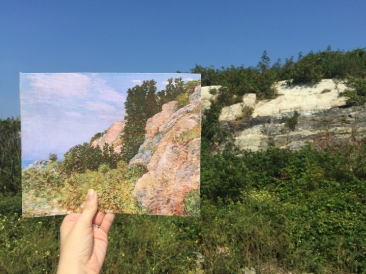 """Comparison of Childe Hassam's """"The Laurel in the Ledges, Appledore"""" (1905) with the view of Appledore Island today (photo courtesy the North Carolina Museum of Art)"""