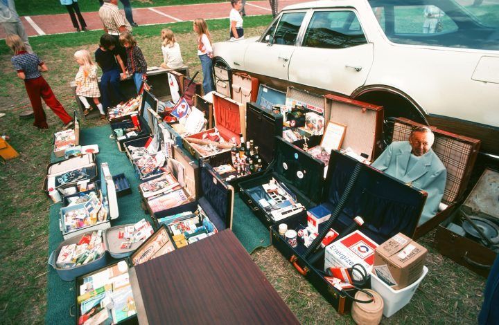 """Suitcases filled with donations for Ant Farm's """"Citizens' Time Capsule"""" (1975) at Lewiston, New York (photo courtesy Chip Lord)"""