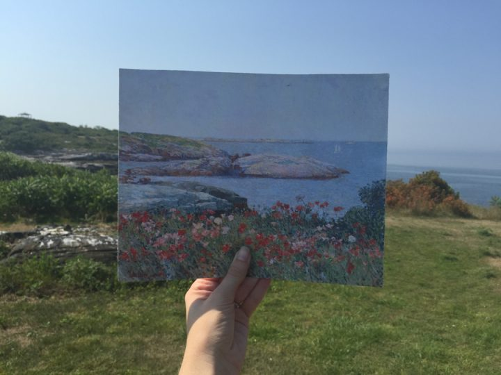 """Comparison of Childe Hassam's """"Poppies, Isles of Shoals"""" (1891) with the view today from Celia Thaxter's garden (recreated by Shoals Marine Laboratory), looking towards Babb's Rock (photo courtesy the North Carolina Museum of Art)"""