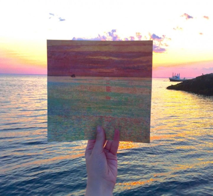 """Comparison of Childe Hassam's """"Sunset at Sea"""" (1911) with a sunset on Appledore Island today (photo courtesythe North Carolina Museum of Art)"""