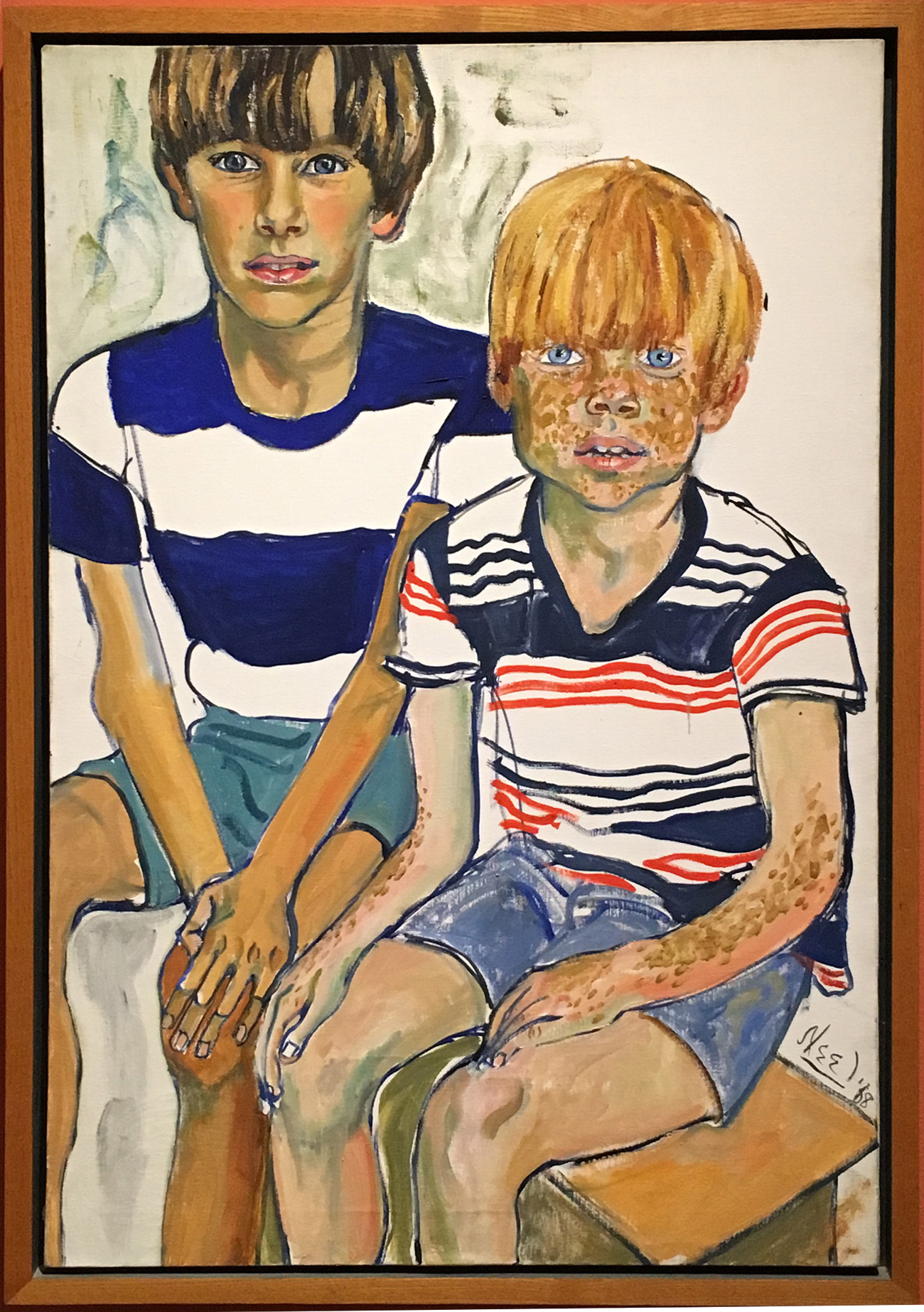"""Alice Neel, """"John and Joey Priestly"""" (1968), Oil on canvas, Courtesy Sheldon Museum of Art"""