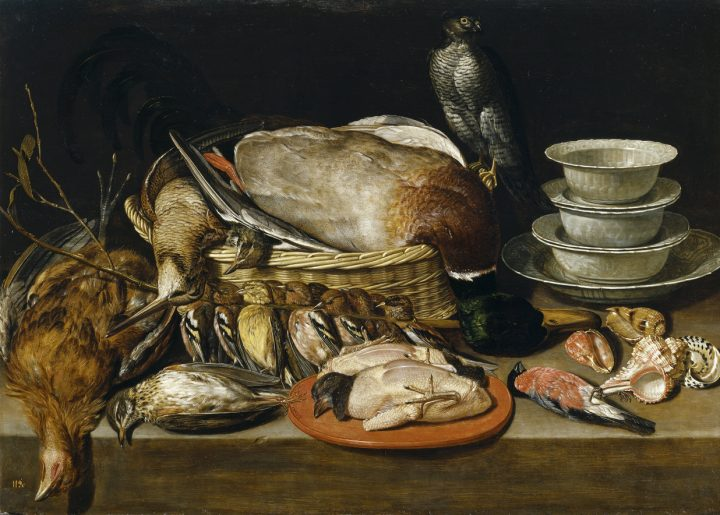 "Clara Peeters, ""Still Life with Sparrow Hawk, Fowl, Porcelain, and Shells"" (1611), oil on panel (Museo del Prado, via Wikimedia Commons)"