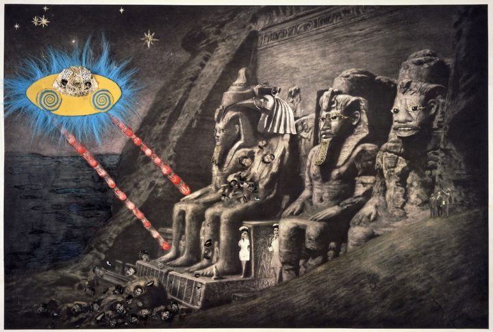 "Ellen Gallagher, "" Abu Simbel"" 2005 Photogravure, watercolor, colored pencil, varnish, pomade, plasticine, blue fur, gold leaf, and crystals. 24 ½ x 35 ½ inches (unframed) Published by Two Palms, New York (Courtesy of Gagosian Gallery Image © 2016 Ellen Gallagher)"