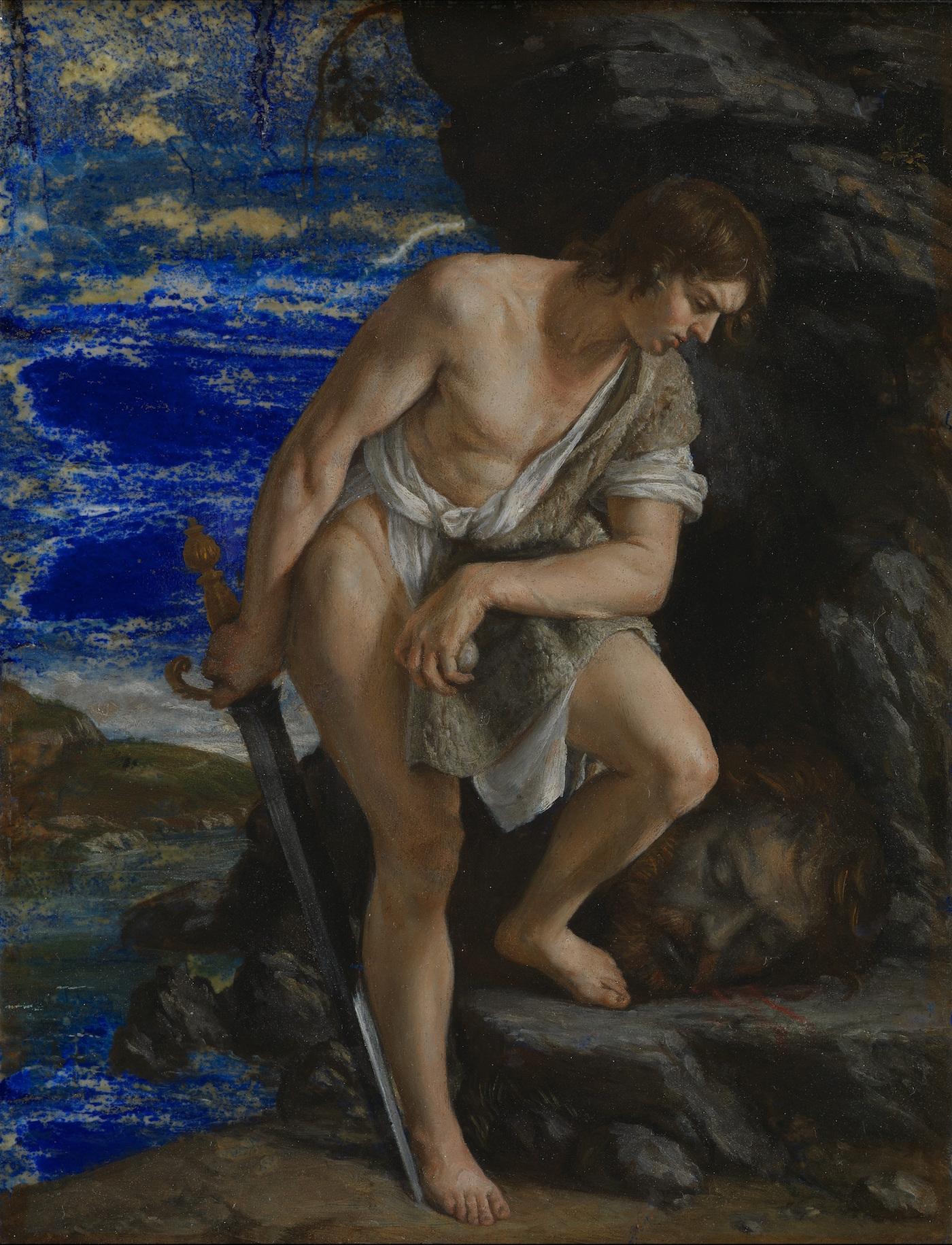 """""""David Contemplating the Head of Goliath"""" (ca 1612), attributed to Orazio Gentileschi (via Wikimedia Commons)"""