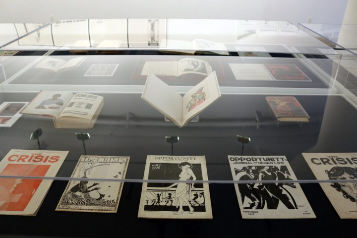 Installation view of the vitrines containing historical documents in Black Pulp