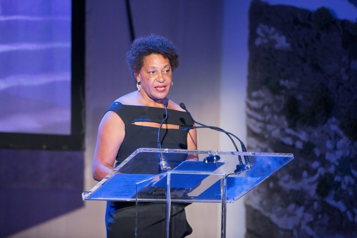 Carrie Mae Weems performing 'Past Tense.'