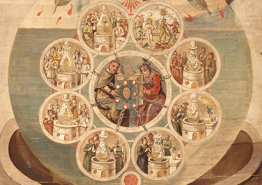 Alchemists Revealing Secrets from the Book of Seven Seals, The Ripley Scroll (detail), (ca. 1700) (via getty.edu)