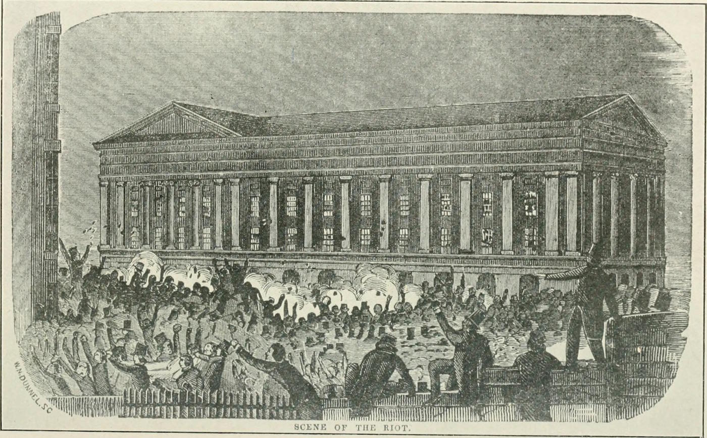 Illustration of the Astor Place Riot in 'Our Theatres To-Day and Yesterday' (1910) (via Internet Archive/Wikimedia)