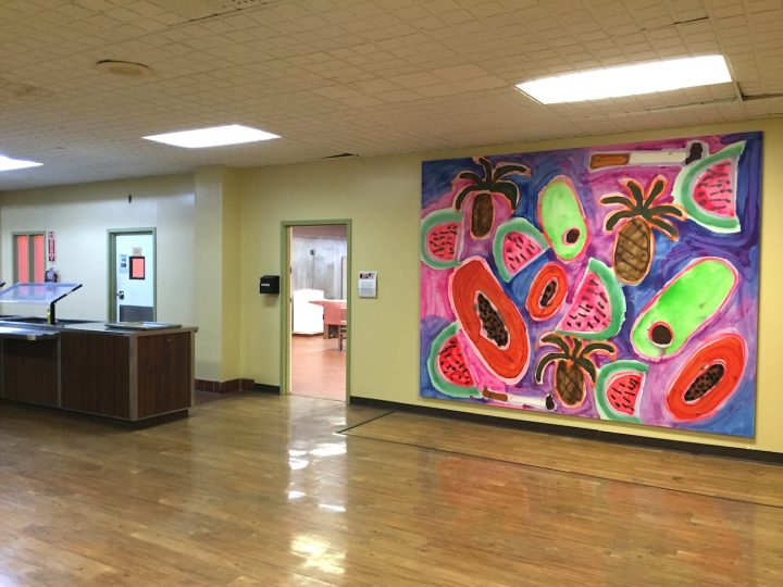 "Katherine Berndardt, ""Hawaiian Punch"" (2014), Acrylic and spray paint on canvas, 96 1/10 × 119 7/10 × 1 1/5 in."