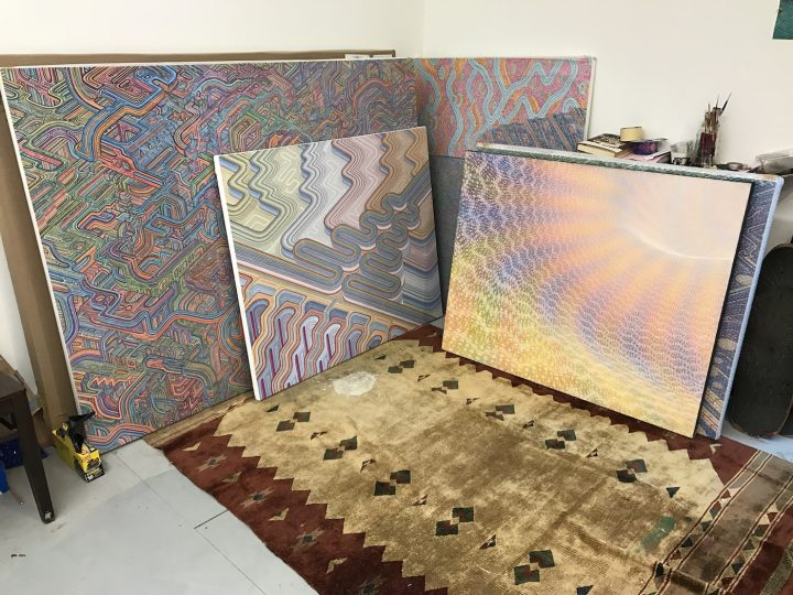 Paintings in Colin Prahl's studio (photo by Hrag Vartanian for Hyperallergic)