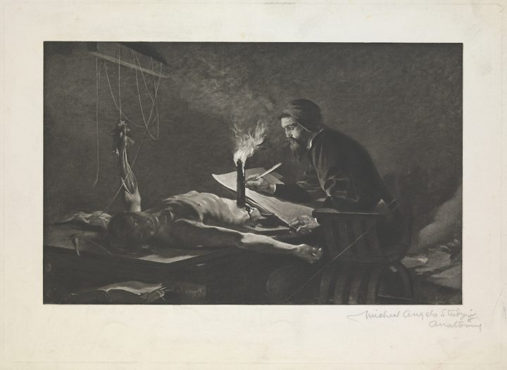 Photogravure of Michelangelo drawing a cadaver by candlelight, after Antonin Mercié (via Wellcome Images/Flickr)