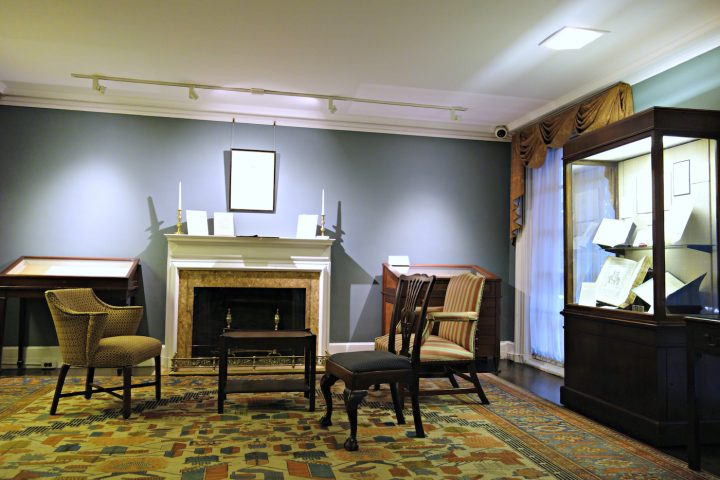 Installation view of 'The Centaur Turns One Hundred: A Century of Bruce Rogers' Centaur Type, From the Collection of Jerry Kelly' at the Grolier Club (photo by the author for Hyperallergic)