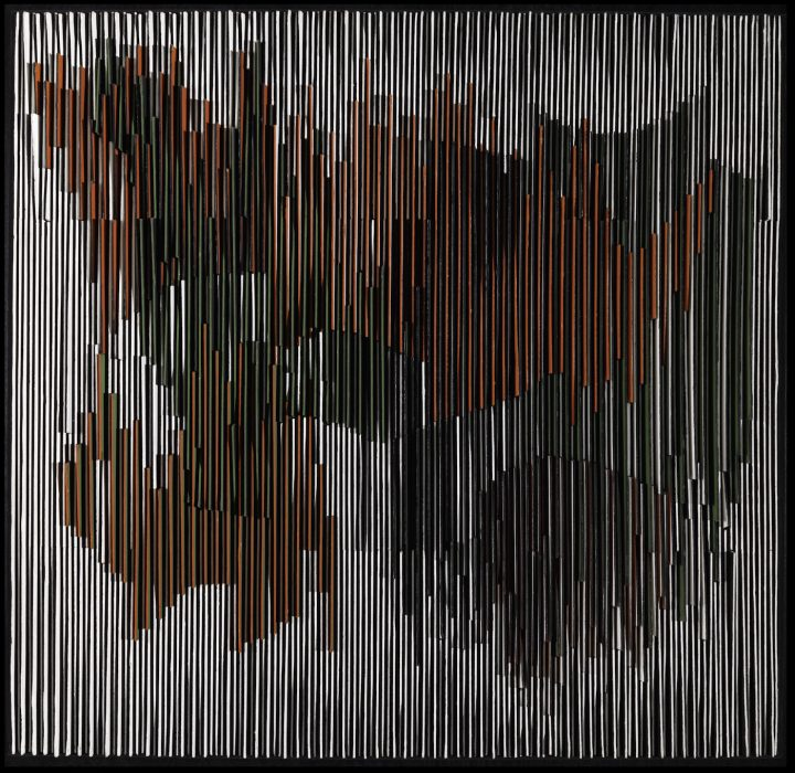 "Carlos Cruz-Diez, ""Physichromie 21"" (1960), casein on cardboard over wood, 40 11/16 x 41 7/8 x 2 9/16 in, promised gift of Patricia Phelps de Cisneros through the Latin American and Caribbean Fund (© 2016 Carlos Cruz-Diez / Artists Rights Society [ARS], New York / ADAGP, Paris)"