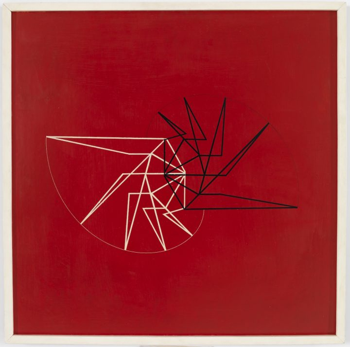 """Waldemar Cordeiro, """"Visible Idea"""" (1956), acrylic on wood, 23 9/16 x 23 5/8 in"""