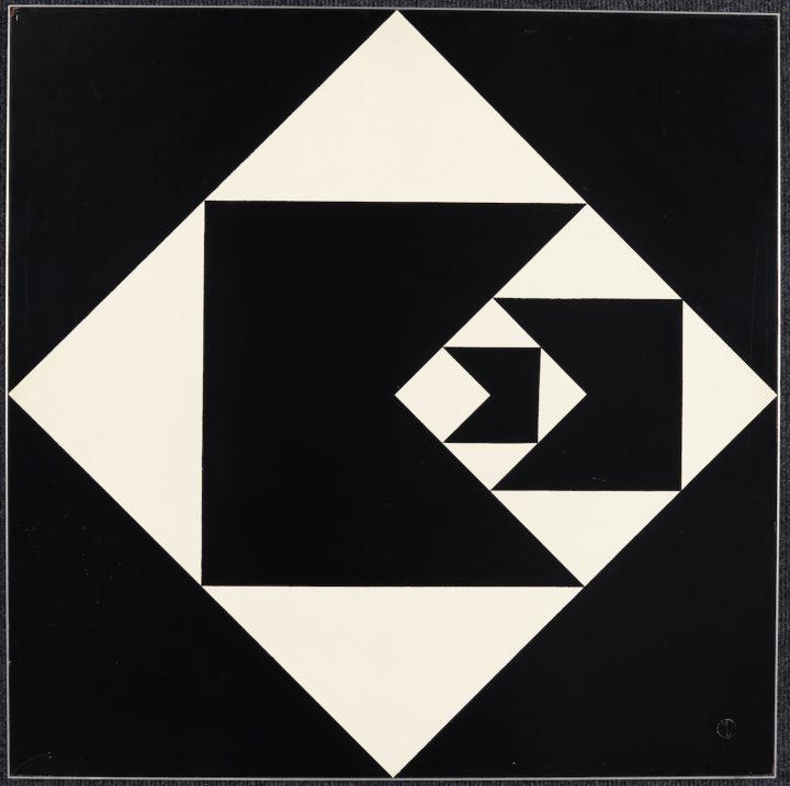 "Geraldo de Barros, ""Diagonal Function"" (1952), lacquer on wood, 24 3/4 x 24 3/4 x 1/2 in"