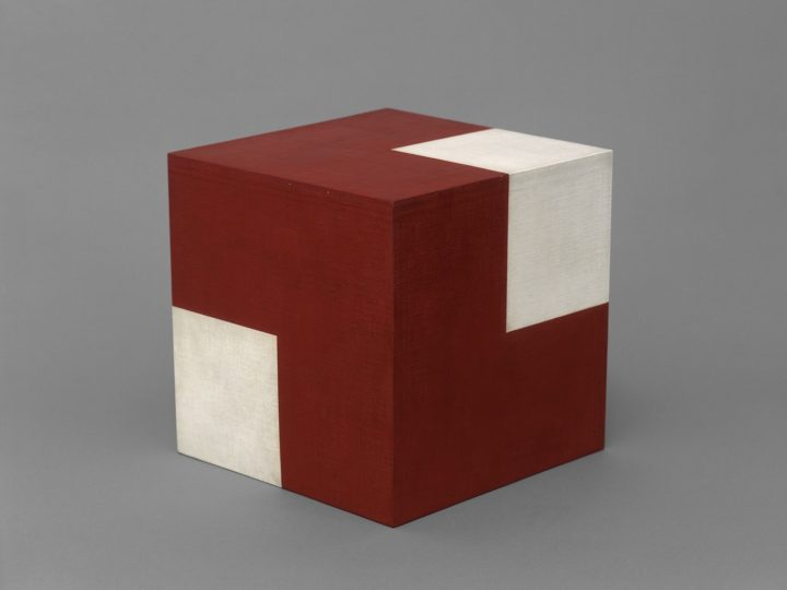 """Willys de Castro, """"Active Object (Red/White Cube)"""" (1962), oil on canvas over wood, 9 13/16 x 9 13/16 x 9 13/16 in"""