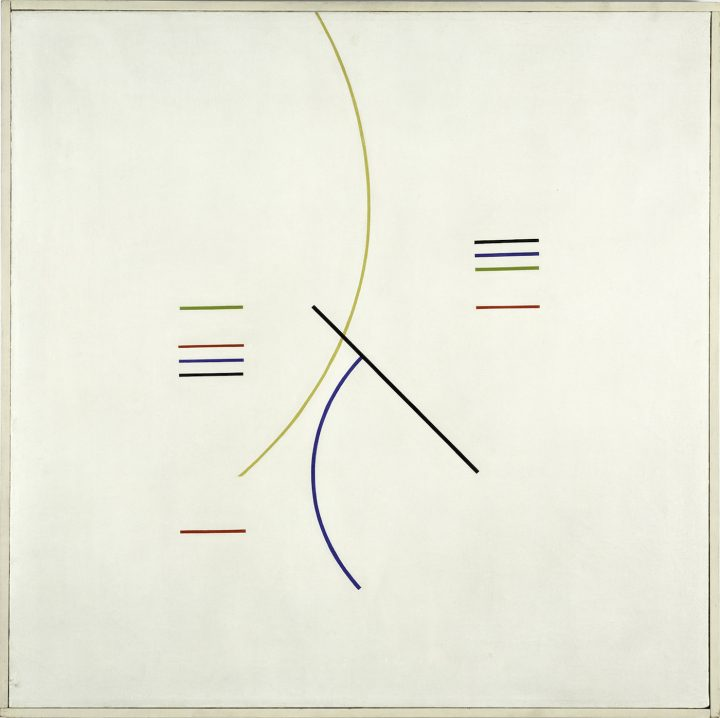 """Alfredo Hlito, """"Curves and Straight Series"""" (1948), oil on canvas, 27 3/4 x 27 3/4 in"""