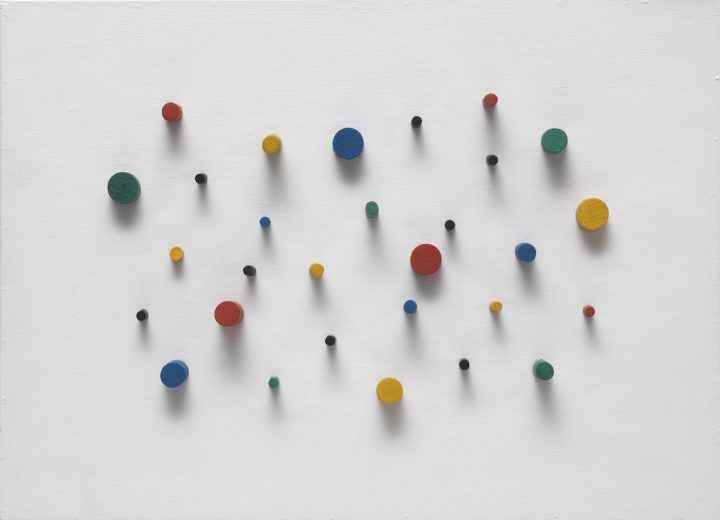 """Carlos Cruz-Diez, """"Project for an Exterior Wall"""" (1954–65), painted dowels and synthetic polymer paint on wood, 15 3/4 x 21 3/4 x 2 1/2 in"""