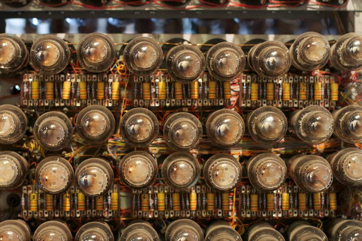 Detail of a rebuilt Colossus computer at the National Museum of Computing at Bletchley Park. The model is similar to the Mark 2 on which the first recorded computer music was played (photo by Alan Levine/Flickr)