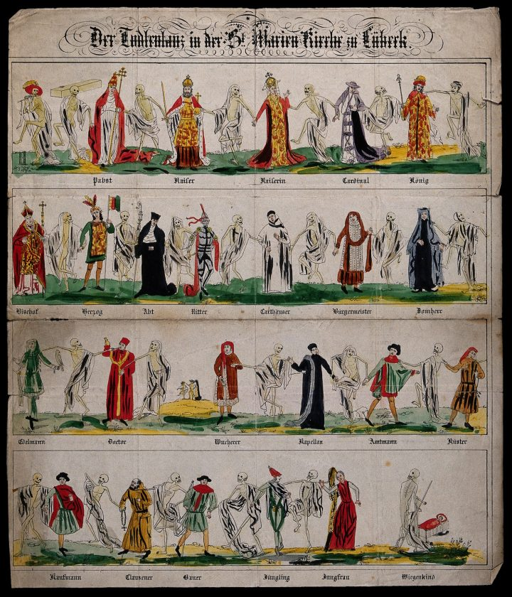 "The Lübeck ""Danse Macabre"" in a lithograph (via Wellcome Images/Wikimedia)"