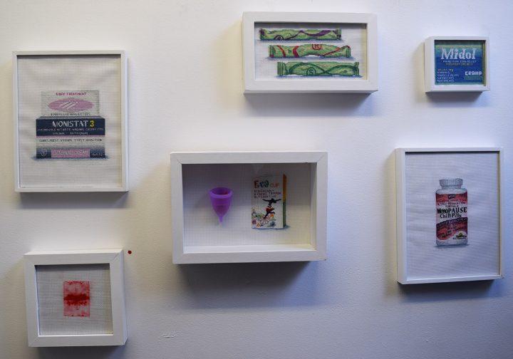Works by Katrina Makjut in her studio at Brooklyn Art Space during Gowanus Open Studios 2015