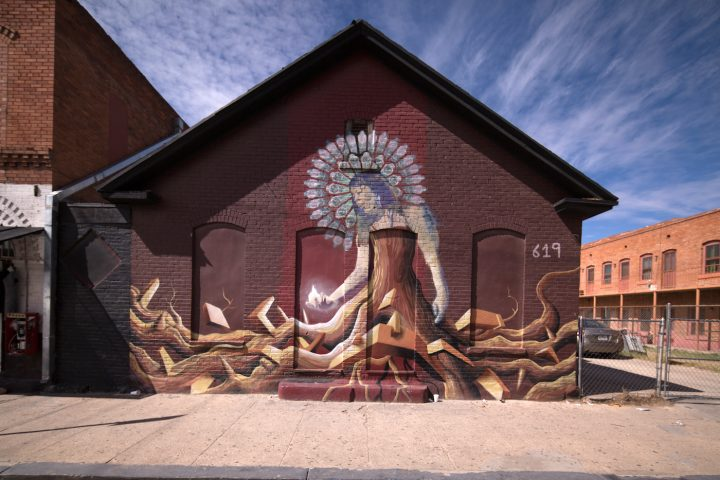 Mural in El Paso's El Segundo Barrio and Chihuahuita neighborhoods. The areas have several historic structures under threat of demolition as El Paso develops (photo by Marc Stone)