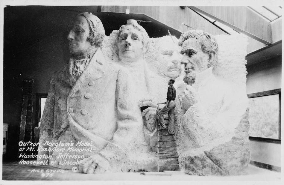 Gutzon Borglum's model of the Mount Rushmore memorial (1936) (via Library of Congress/Wikimedia)