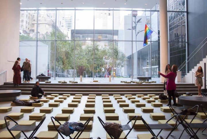 Meditation cushions in the Museum of Modern Art's lobby for Quiet Mornings (all photos by the author for Hyperallergic)