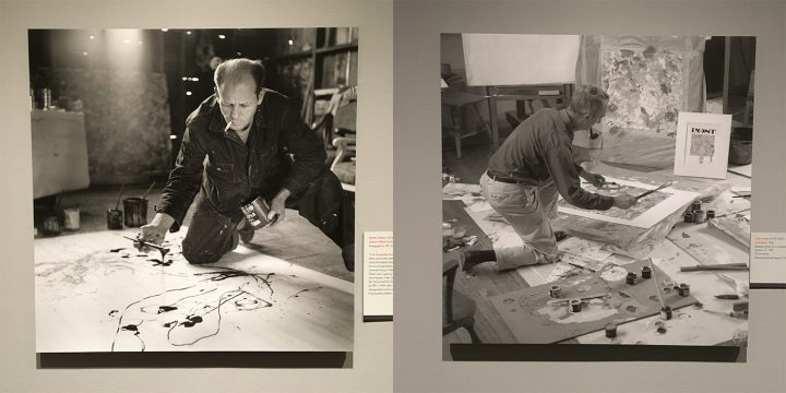 """Left: Martha Holmes (1923–2006), """"Jackson Pollock Works in His Long Island Studio"""" (1949), photograph for 'LIFE' magazine; right: Louie Lamone (1918–2007), reference photo for """"The Connoisseur""""; both on view in <em>Rockwell and Realism in an Abstract World</em> (all photos by the author for Hyperallergic)"""