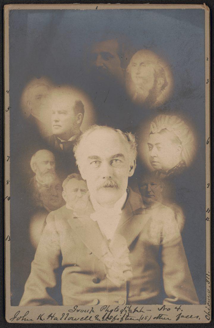 Spirit photograph by S. W. Fallis of John K. Hallowell (1901) (via Library of Congress)