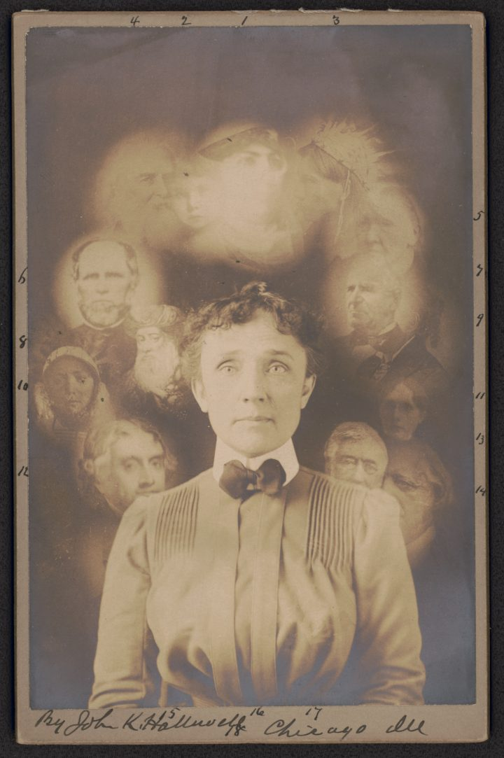 Spirit photograph by S. W. Fallis supposedly taken during a seance (1901) (via Library of Congress)