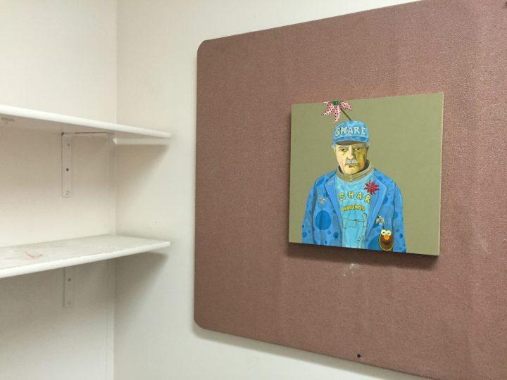 "Ed Templeton, ""Bubble Man"" (2015), acrylic on panel, 15 x 15 in."