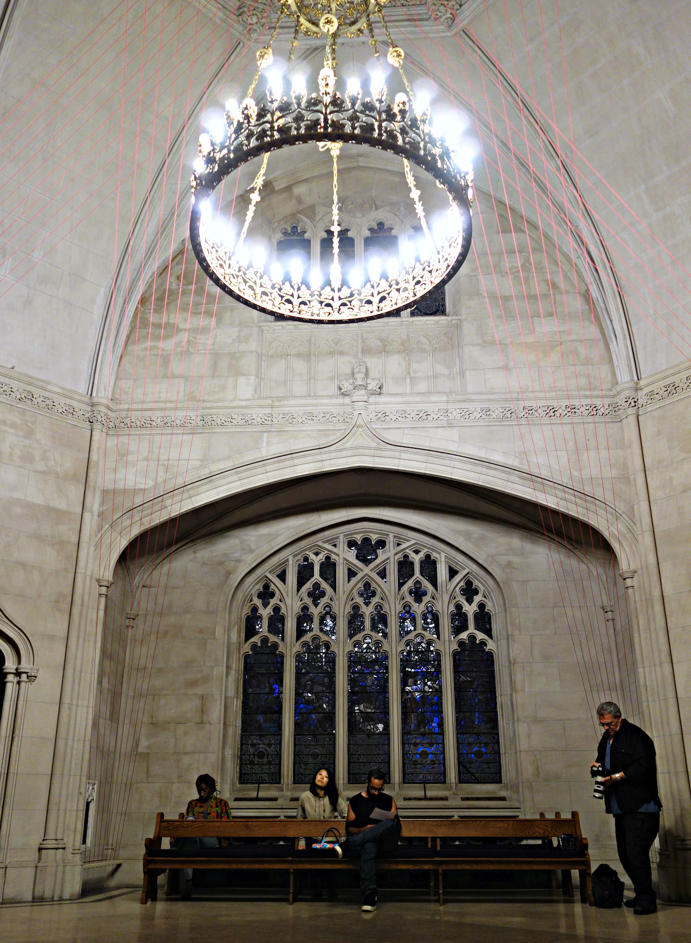 Installation view of 'unSeen Green' by Aaron Asis in the Green-Wood Cemetery Chapel