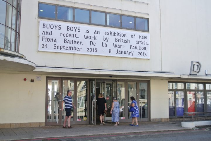 Exhibition signage written in Fiona Banner's new font, Font