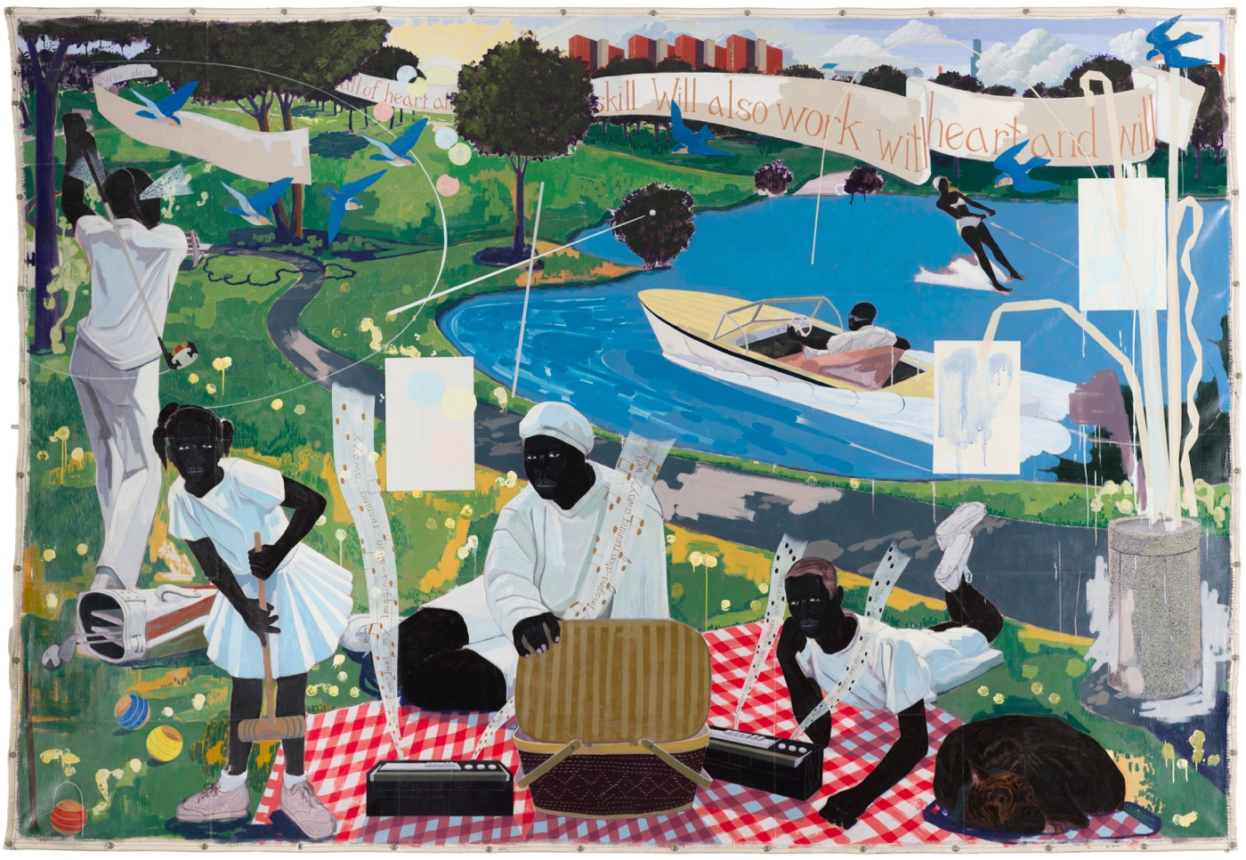 "Kerry James Marshall, ""Past Times"" (1997) Acrylic and collage on canvas 9 ft. 6 in. × 13 ft. (Photo: Nathan Keay, © MCA Chicago)"