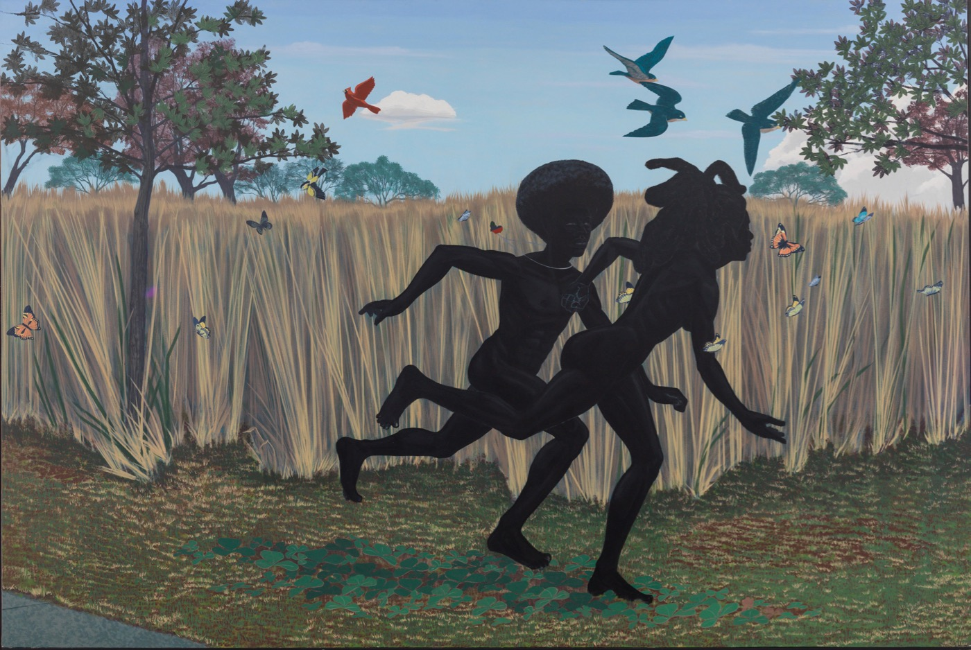 """Kerry James Marshall, """"Vignette"""" (2003) Acrylic on fiberglass 72 in. × 9 ft. (182.9 × 274.3 cm) (All photos courtesy of Kerry James Marshall)"""