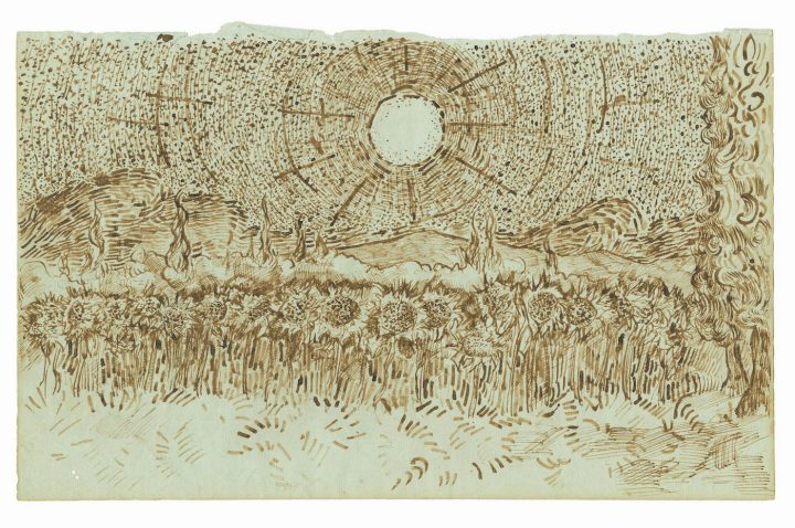 """""""Field of Sunflowers"""" (August–September 1889), one of 65 drawings attributed to Vincent van Gogh and published in the forthcoming title, Vincent van Gogh: The Lost Arles Sketchbook,"""