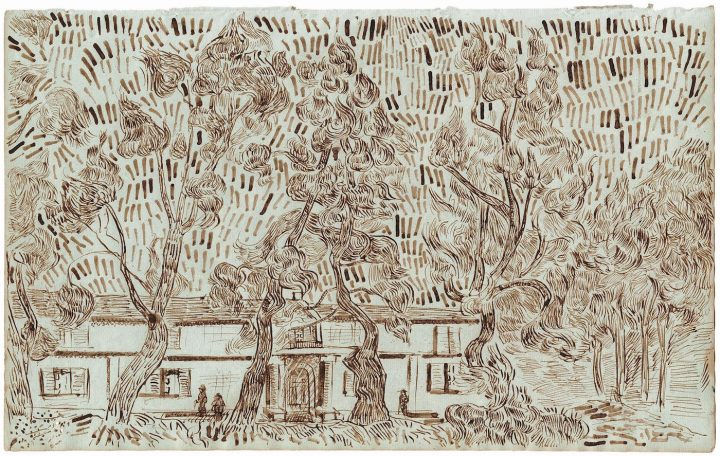 """""""Pine Trees in the Asylum Garden at Saint-Rémy II"""" (October 1889), one of 65 drawings attributed to Vincent van Gogh and published in the forthcoming title, Vincent van Gogh: The Lost Arles Sketchbook"""
