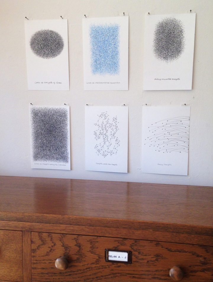 """Roberta Allen, """"Thinking About Thoughts,"""" installation view"""