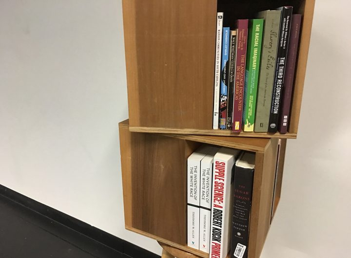Some of the books in the small library that is part of BROOKLYN REZOUND.