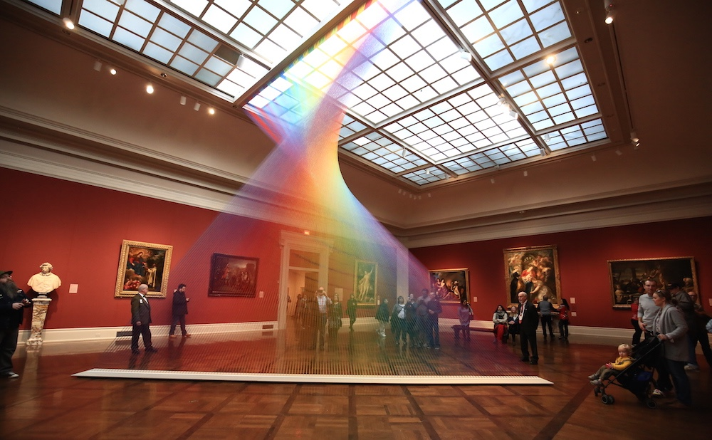 Artist Gabriel Dawe created this ethereal-looking rainbow in the Toledo Museum of Art's Great Gallery. (via Colossal)